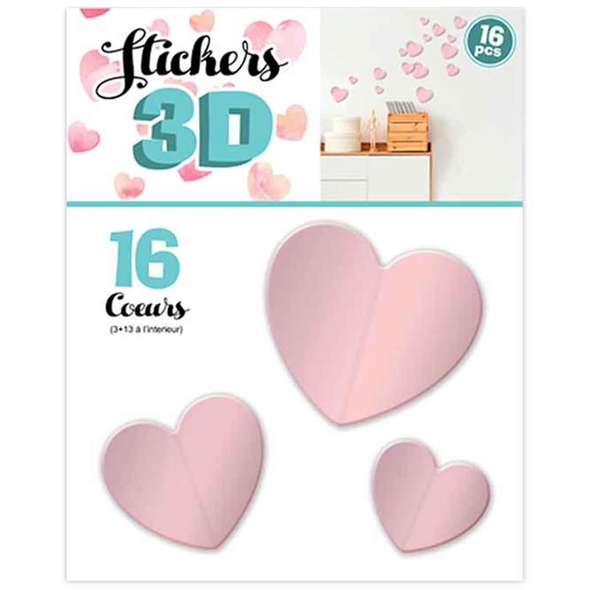 16 stickers 3D \'Love\' rose (coeurs) - planche 30x22 cm - [Q8038]