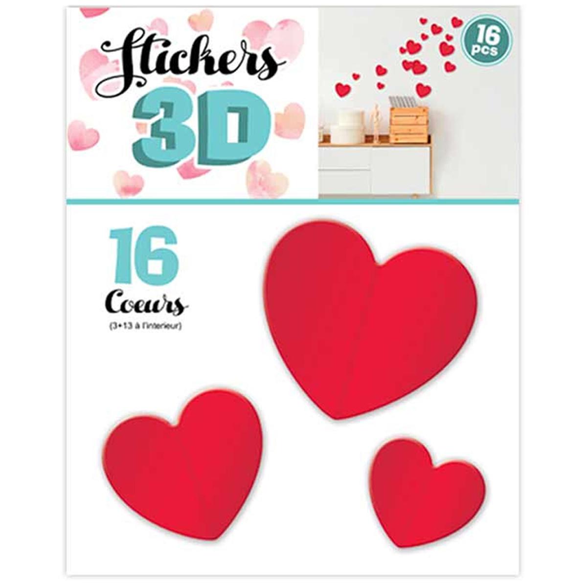 16 stickers 3D \'Love\' rouge (coeurs) - planche 30x22 cm - [Q8039]