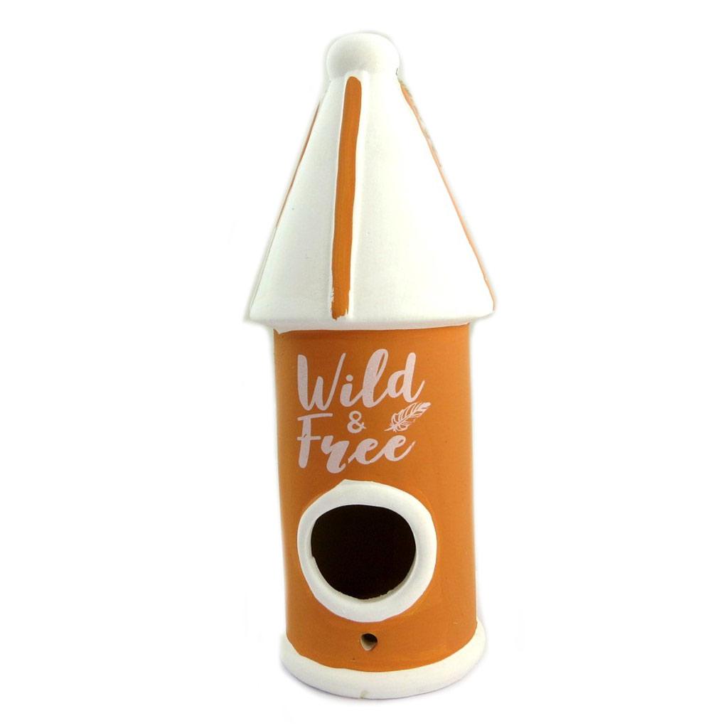 Nichoir céramique \'Wild & Free\' orange blanc - 25x9 cm - [P8862]