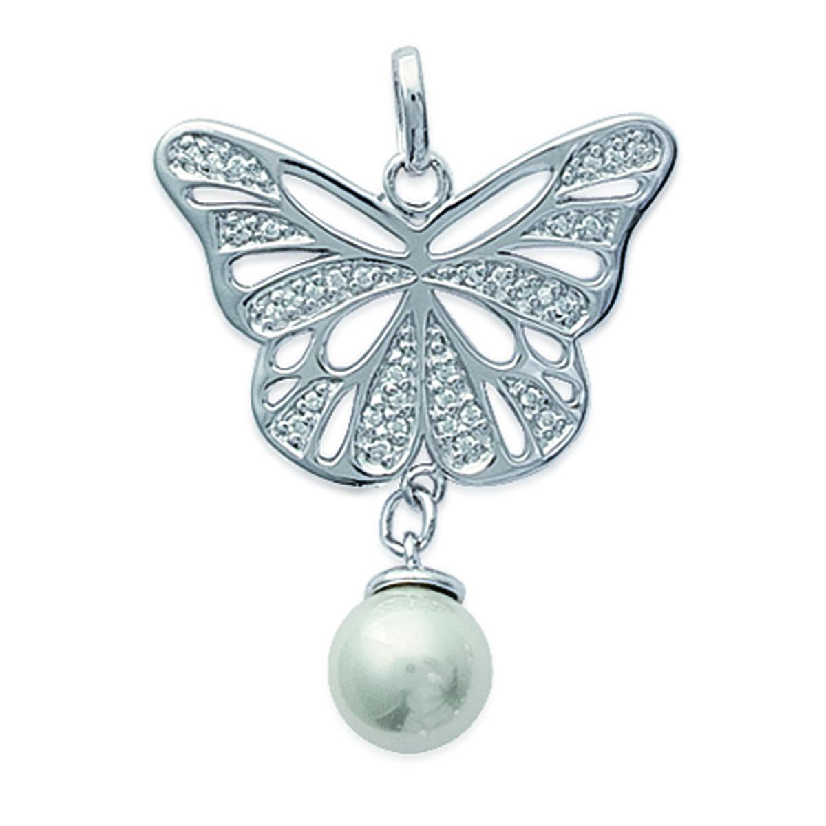 Pendentif Argent \'Papillon de Coton\' ivoire argenté (rhodié) - 32x26 mm - [F0310]