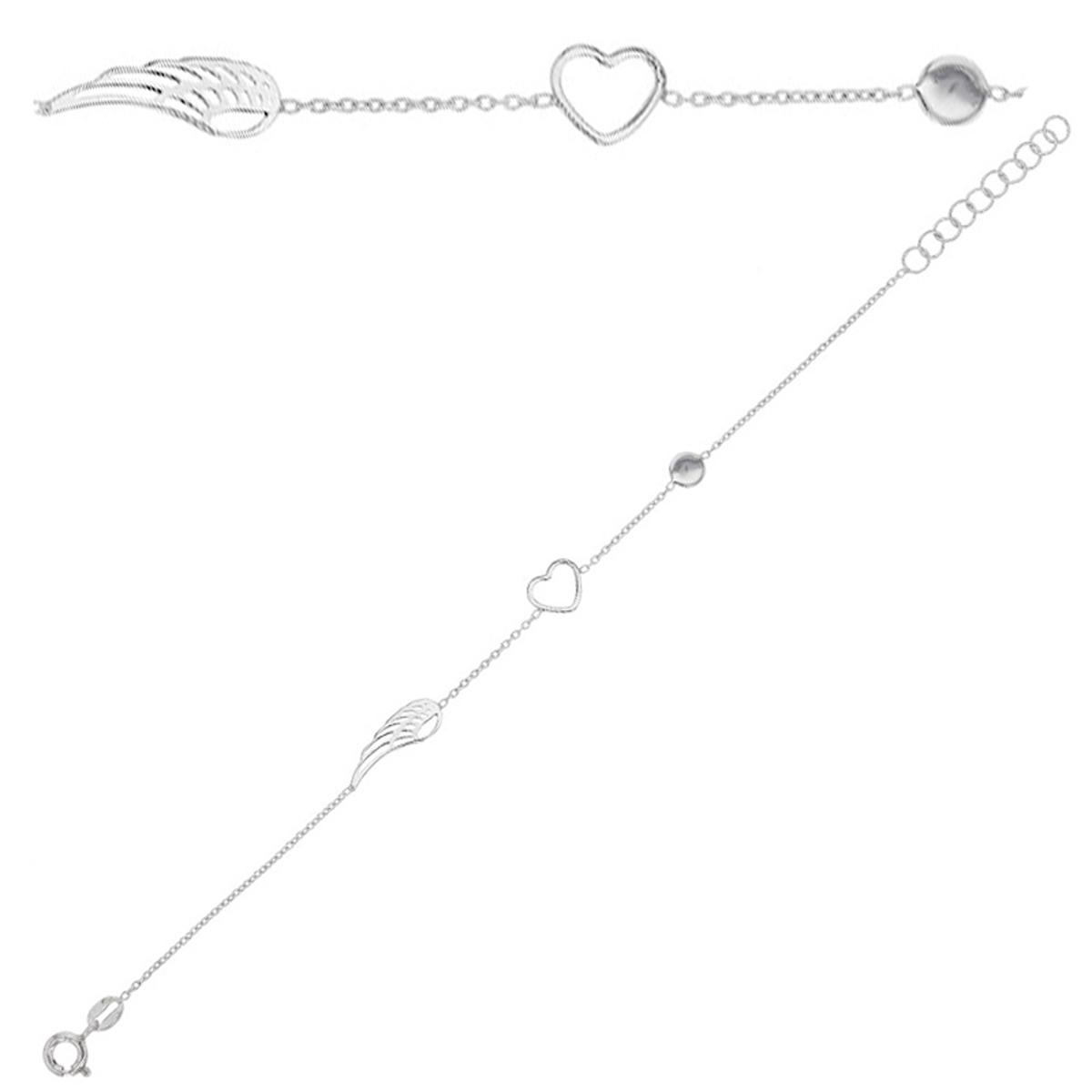 Bracelet Argent artisanal \'Les Ailes d\'Amour\' argenté (rhodié) - aile 17x5 mm - [Q9360]