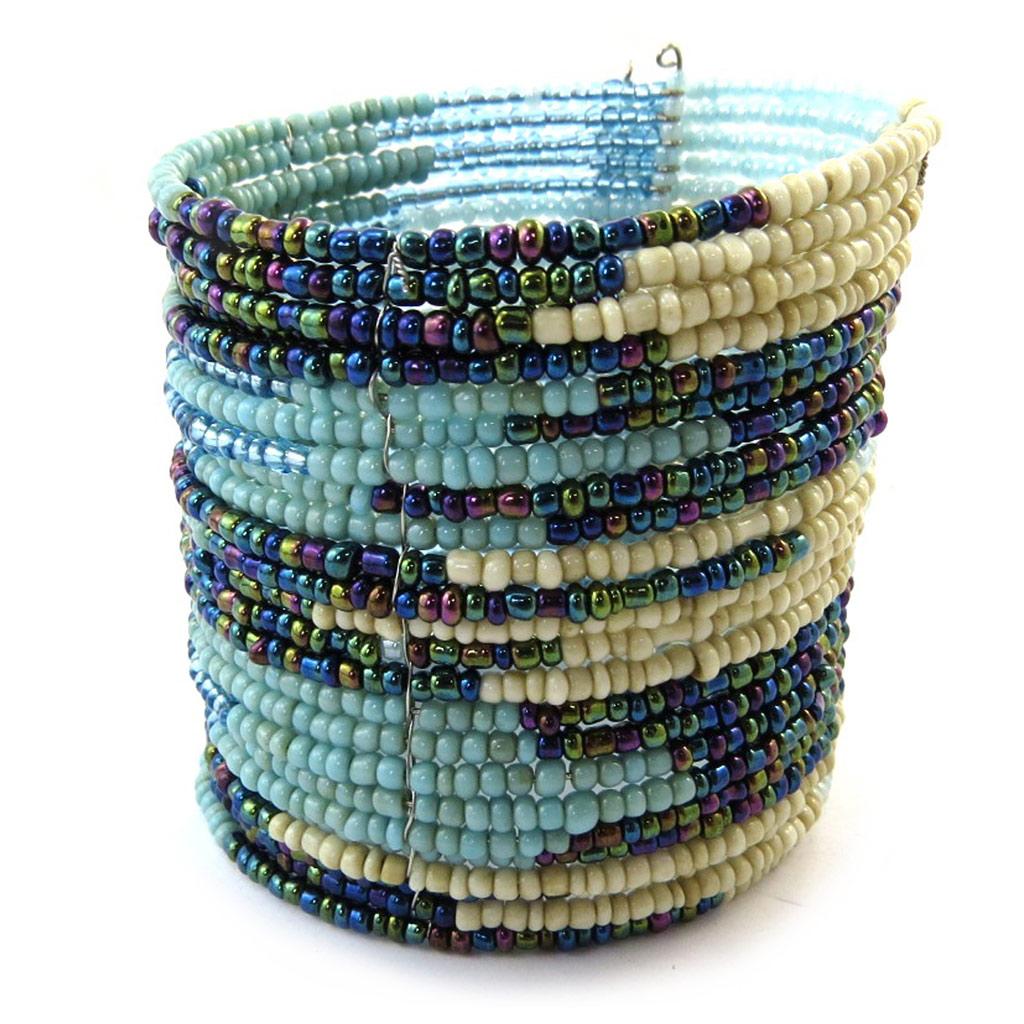 Bracelet créateur \'Katmandou\' bleu beige - [N4634]