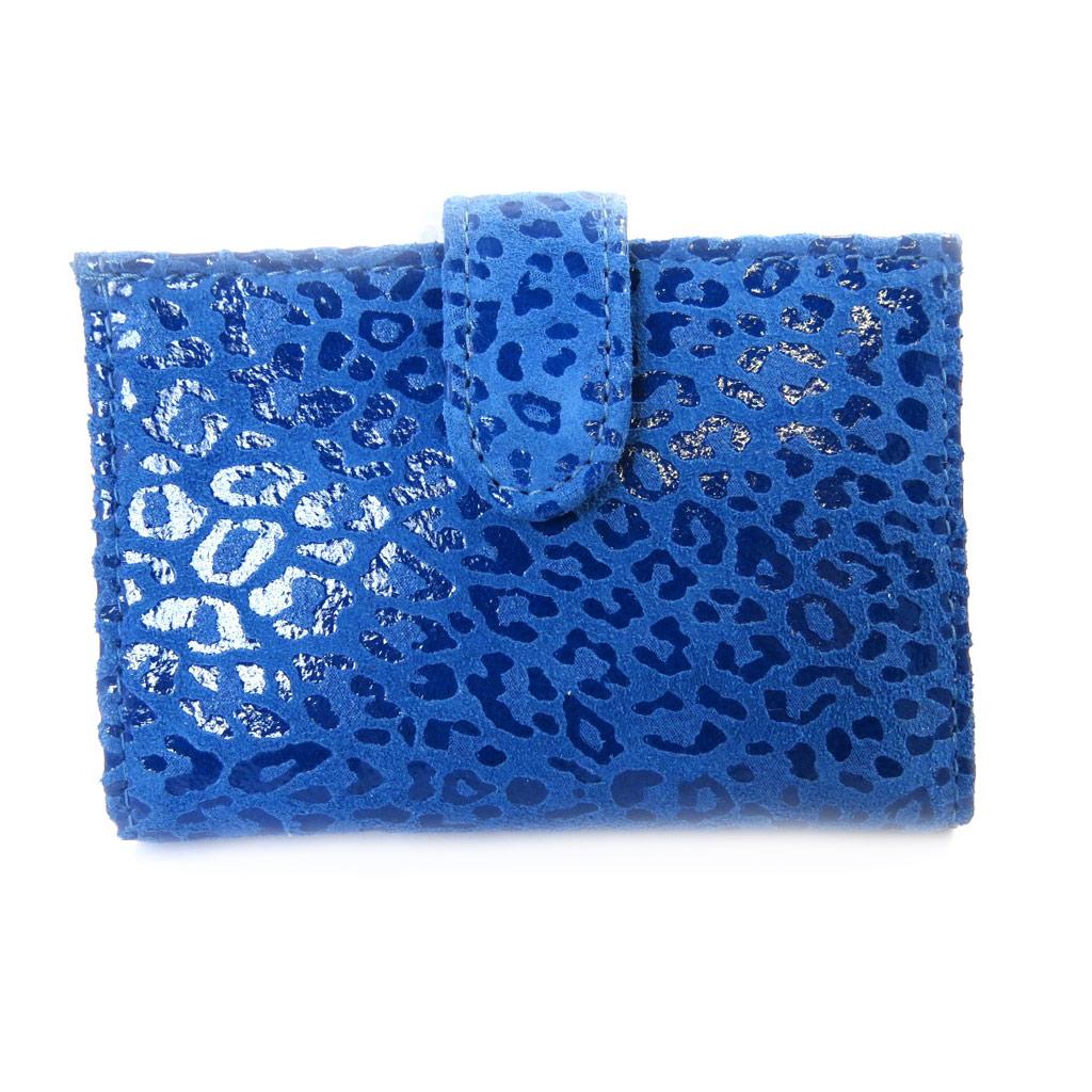 Porte-cartes Cuir \'Frandi\' bleu capri (léopard) - [M3679]