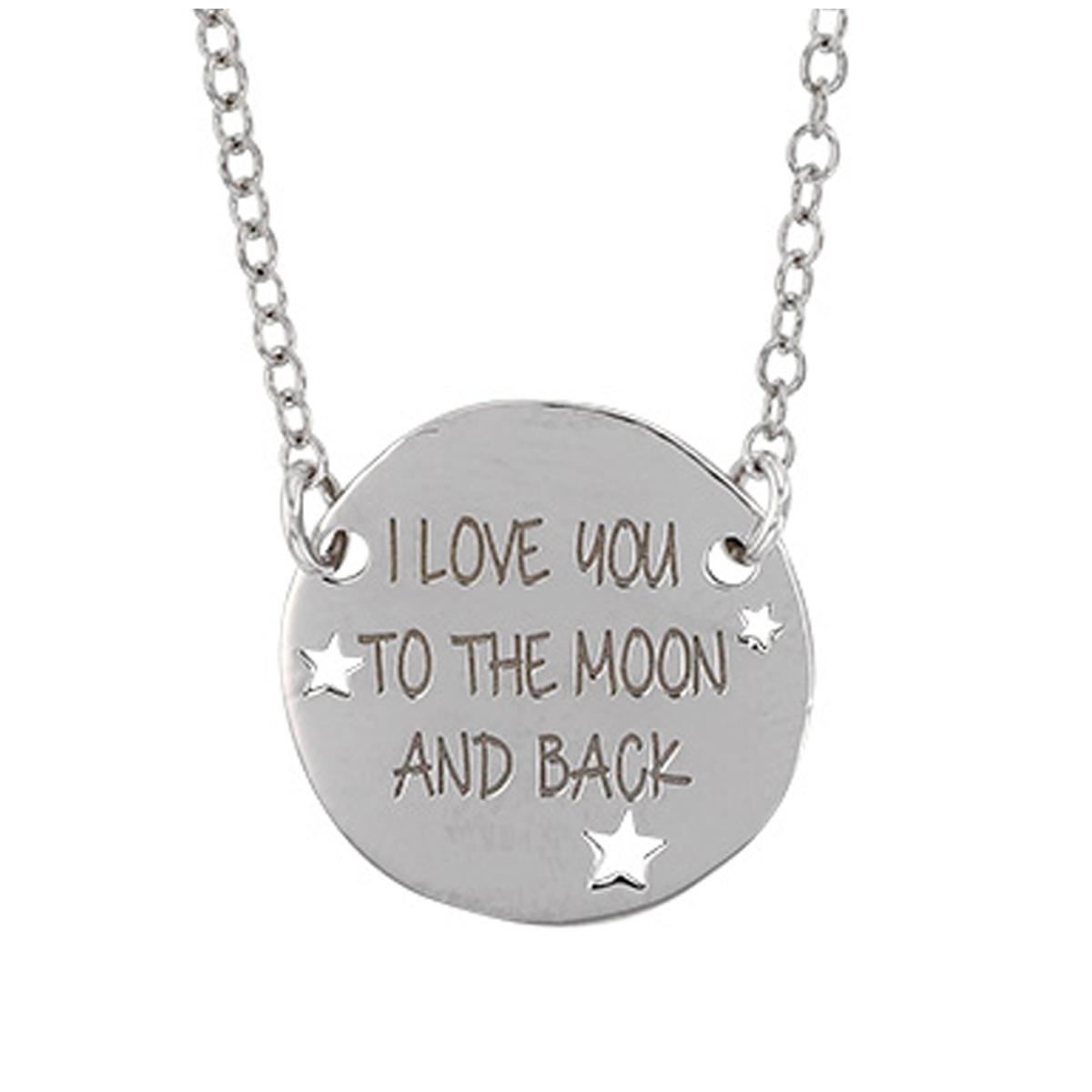 Collier Argent artisanal \'Love\' argenté (rhodié) - 15 mm (I love you to the Moon and back) - [Q9371]