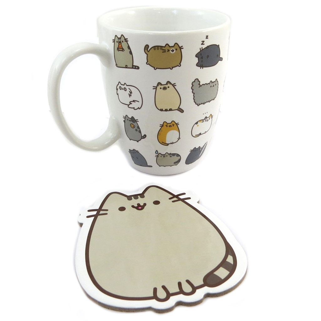 Set Mug céramique + sous-bock \'Pusheen\' blanc gris (35 cl) - 12x105 cm - [P8888]