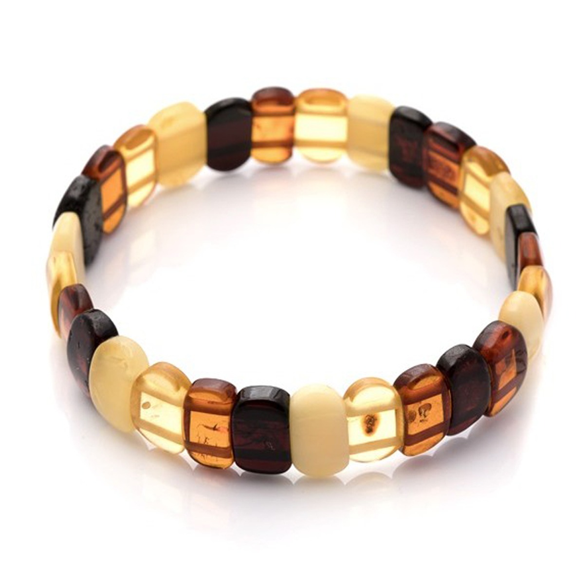 Bracelet \'Inspiration\' ambre (4 tons) - 14 mm - [Q0590]