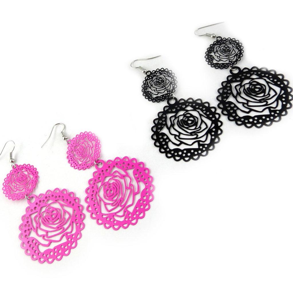 2 paires de boucles \'Rosa Romantica\' rose noir - [L0601]