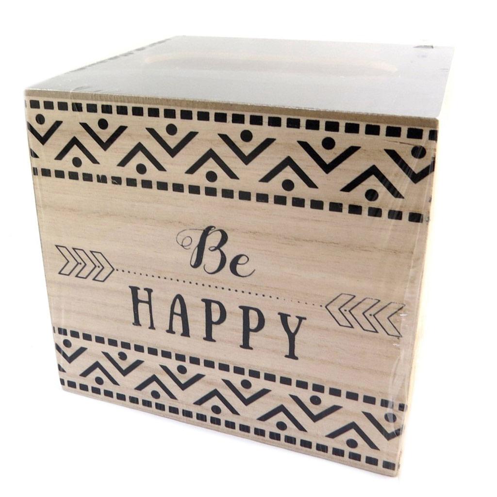 Boite à mouchoirs bois \'Be Happy\' gris beige - 135x135x125 cm - [P8895]