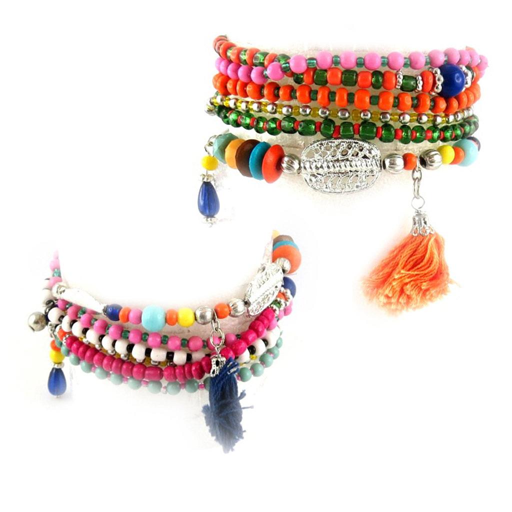 2 bracelets \'Altaï\' tutti frutti (6 rangs) - [L0604]