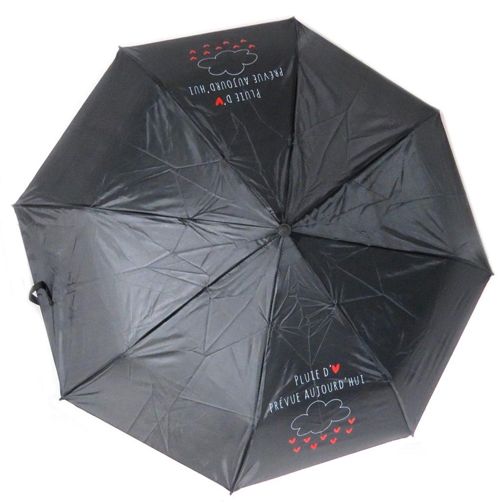Parapluie mini manuel \'Mots d\'Amour\' blanc (Pluie d\'Amour prévue aujourd\'hui) - 23x6 cm - [P8923]