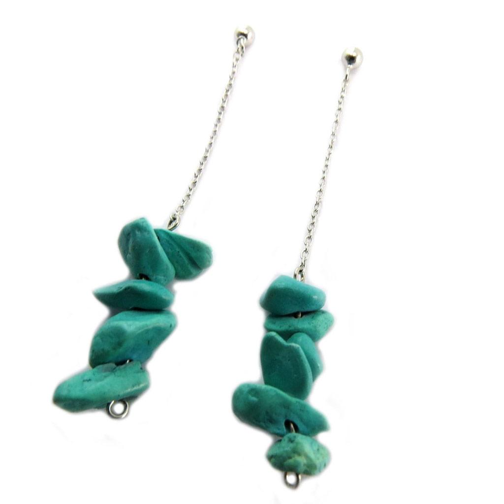 Boucles Argent \'Minéralia\' turquoise argenté - 58x9 mm - [P7031]