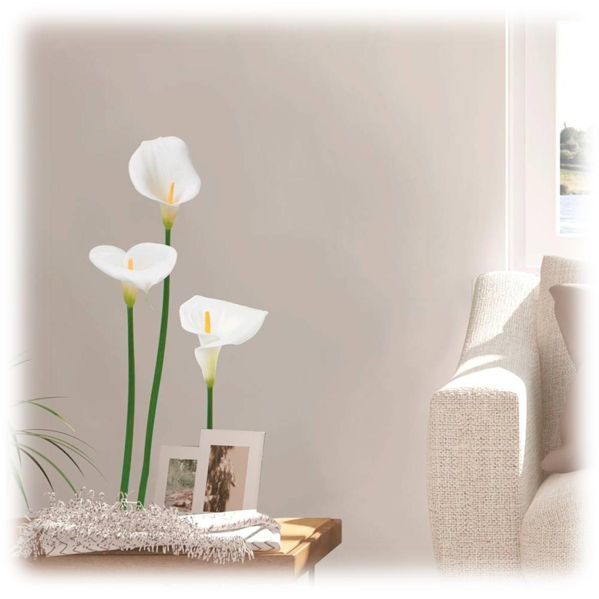 Planche de stickers \'Arums\' blanc - 20x70 cm - [Q0608]