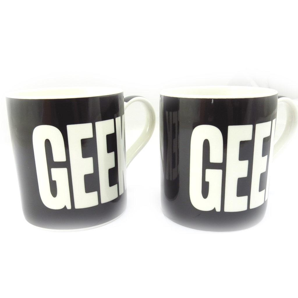 Mug porcelaine \'Geek\' noir - 95x80 mm - [K5023]
