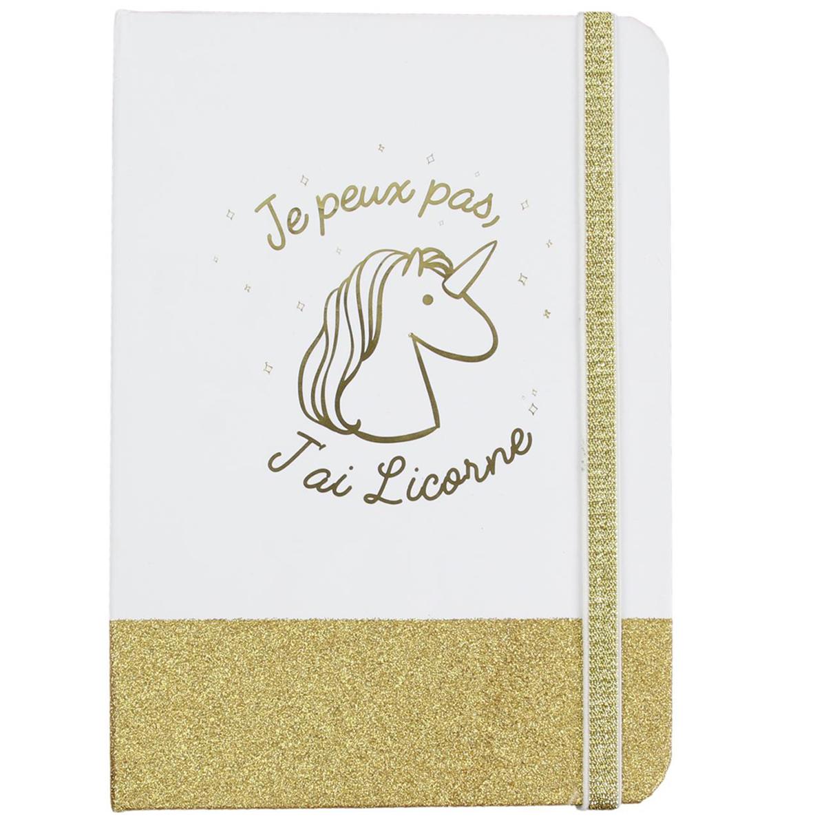 Carnet A5 \'Licorne My Unicorn\' blanc doré (Je peux pas, j\'ai Licorne) - 21x15 cm - [Q3621]