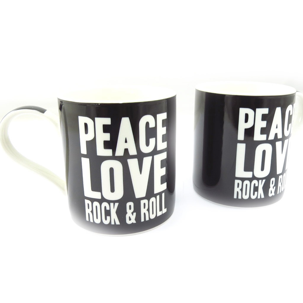 Mug porcelaine \'Peace and Love\' - 95x80 mm - [K5026]