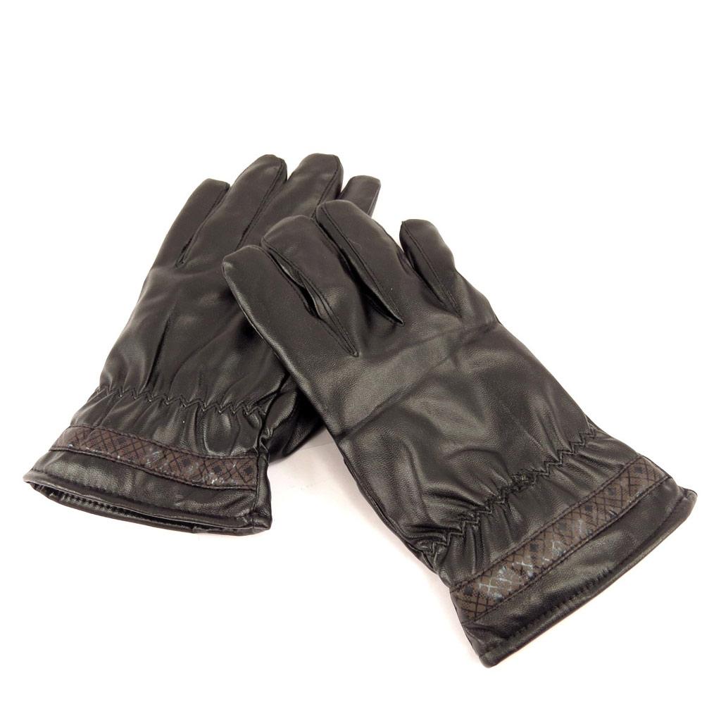 Gants cuir \'Indispensable\' noir marron - [L0639]