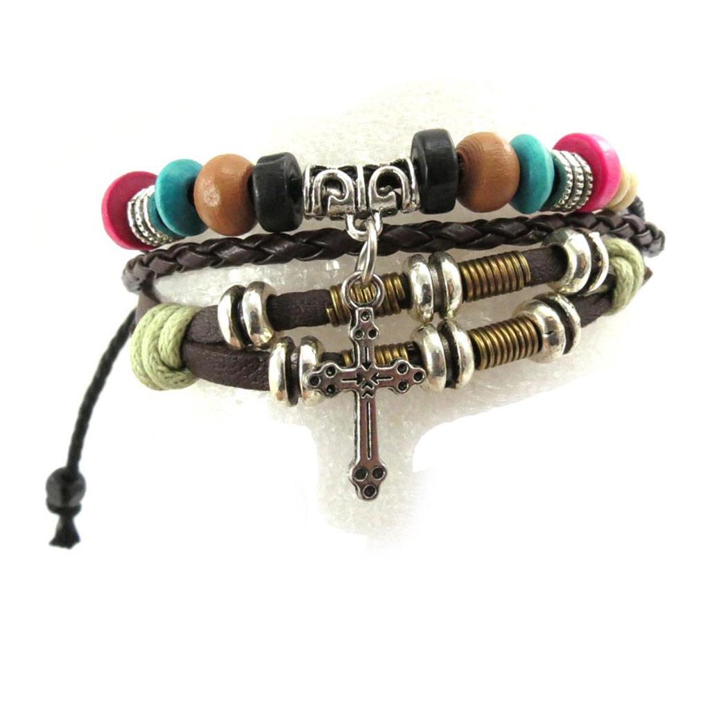 Bracelet créateur \'Croix\' multicolore - [J7706]