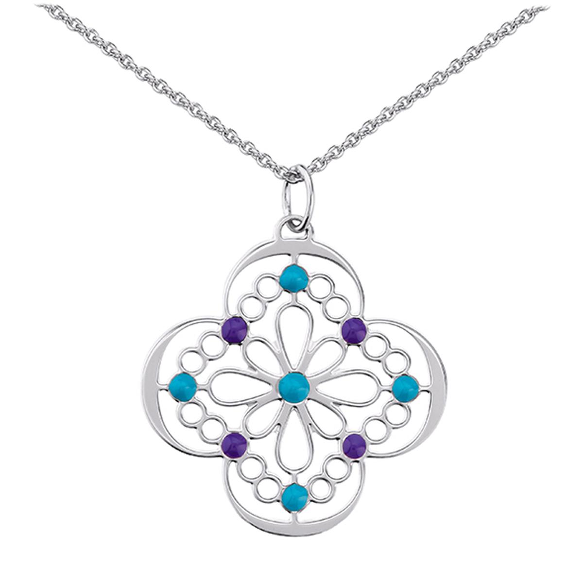 Collier argent \'Carmen\' bleu violet - [M3733]