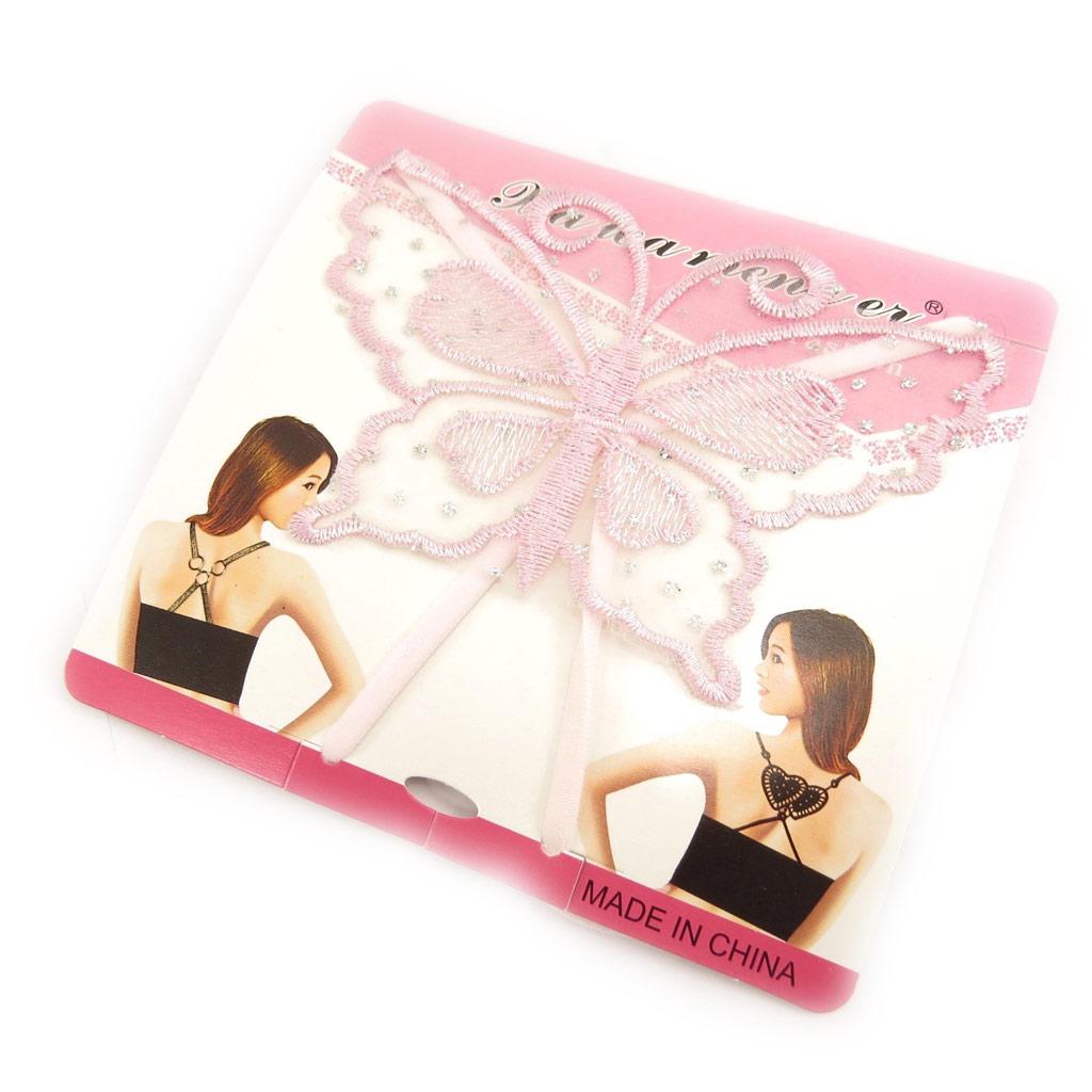 Bretelles soutien-gorge \'Scarlett\' papillon rose - [L0693]
