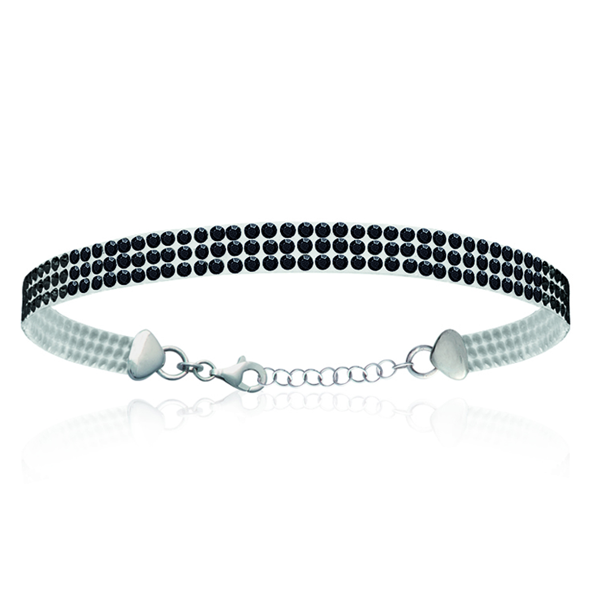 Bracelet Argent \'Sissi\' noir (cristal) - 5 mm - [L0713]