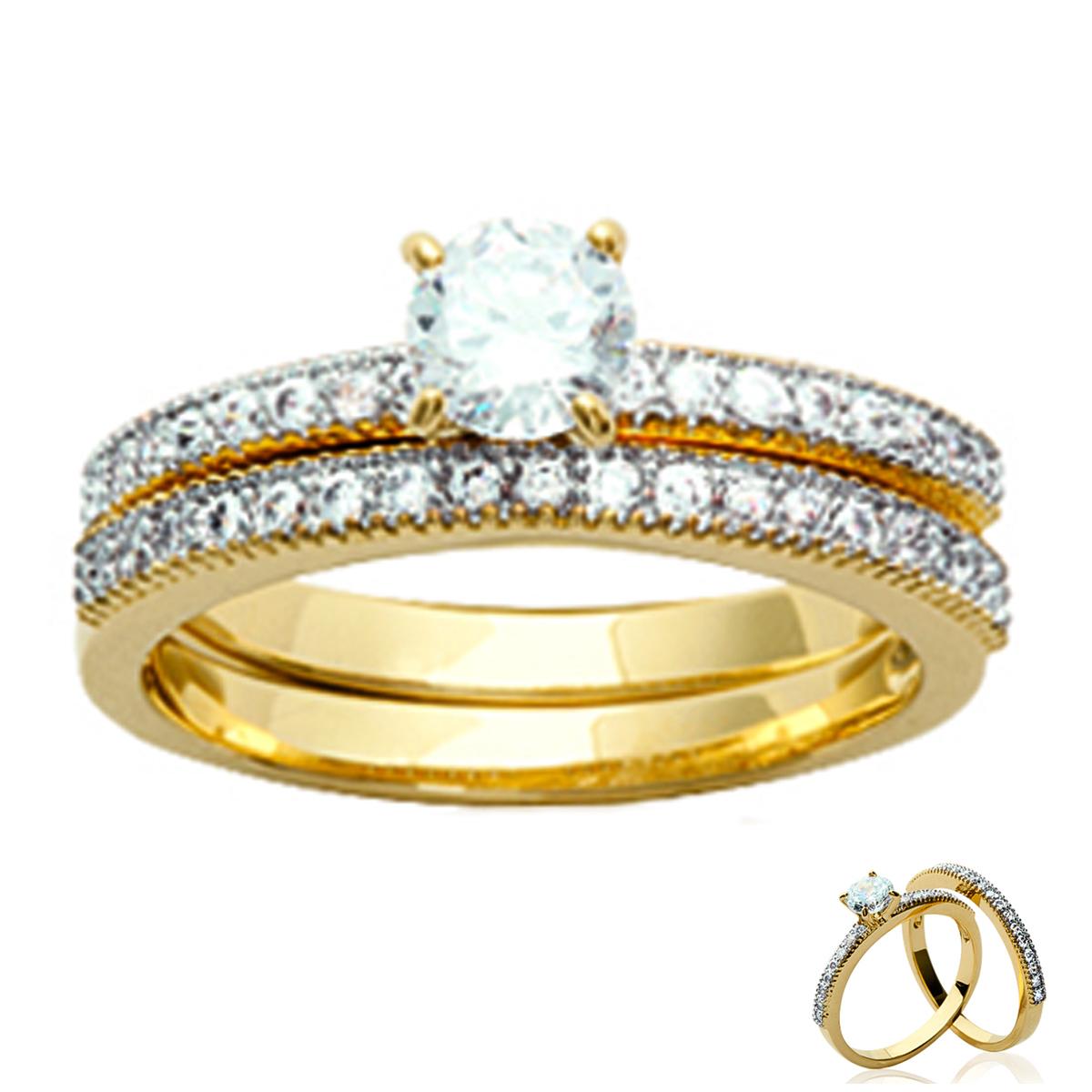 Bague plaqué or \'Pour la Vie\' blanc doré - alliance 2 mm, solitaire 6 mm - [L0724]