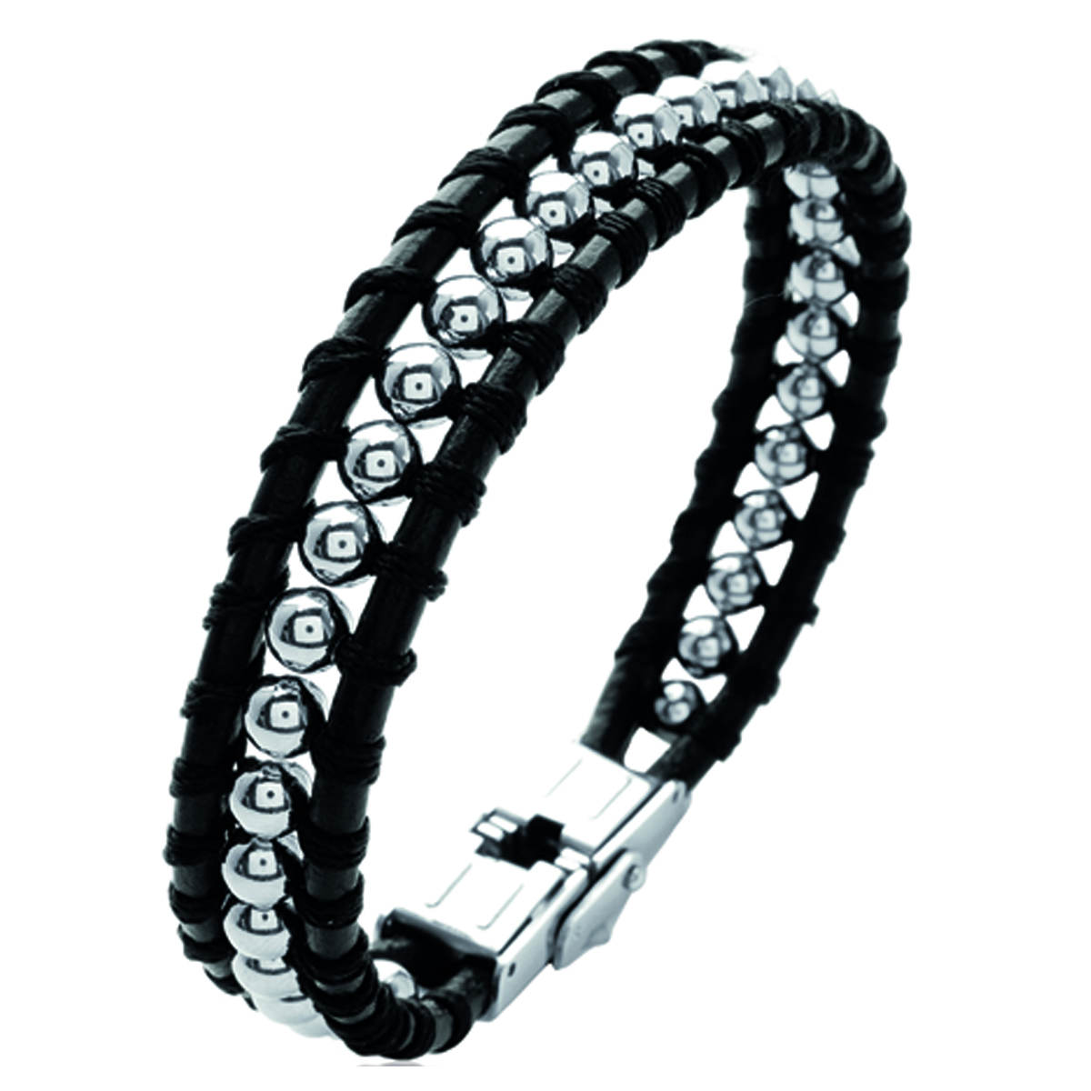 Bracelet acier \'Peaceful\' noir argenté - 19 cm 12 mm - [L0772]