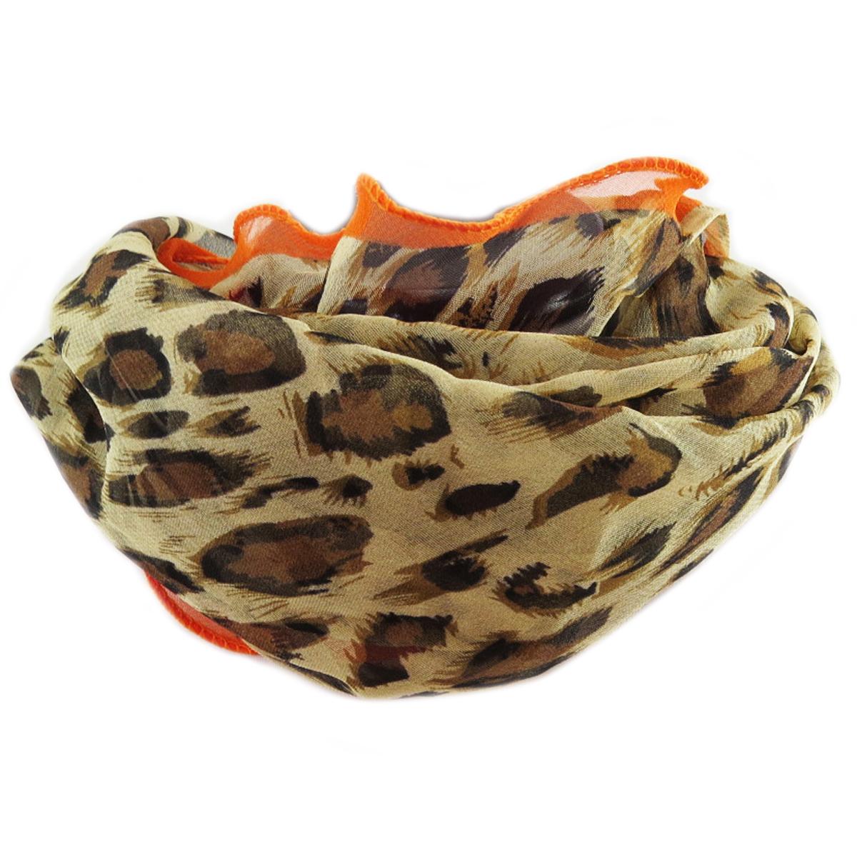 Carré voile \'Scarlett\' marron orange (léopard) - 75x75 cm - [Q5343]