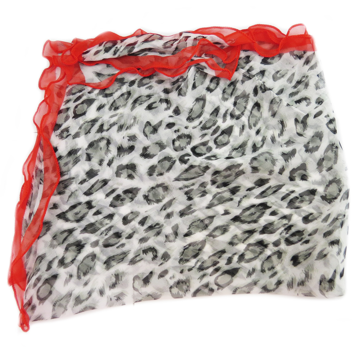 Carré voile \'Scarlett\' noir rouge (léopard) - 75x75 cm - [Q5344]