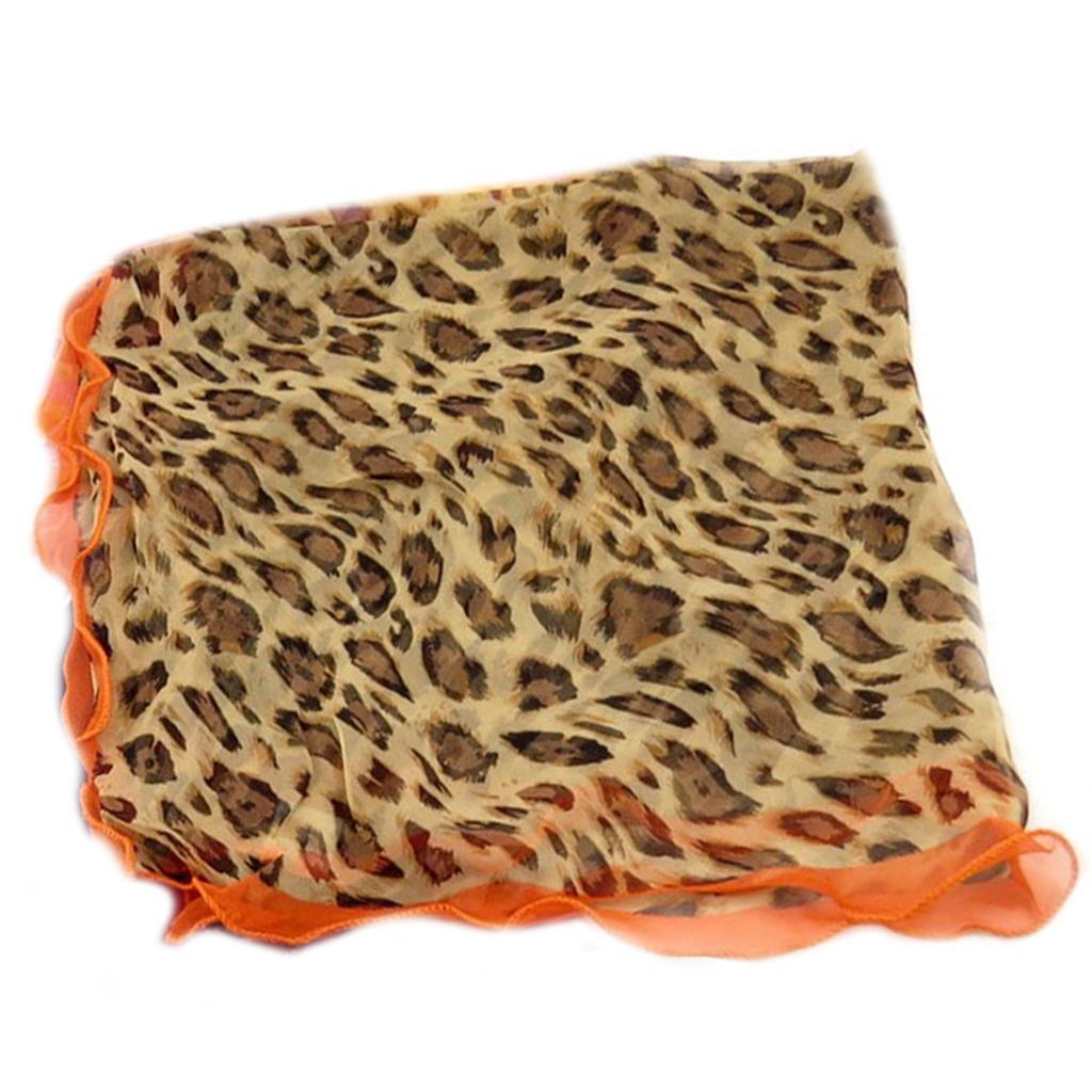 Carré voile \'Scarlett\' orange marron (léopard) - 75x75 cm - [Q5370]