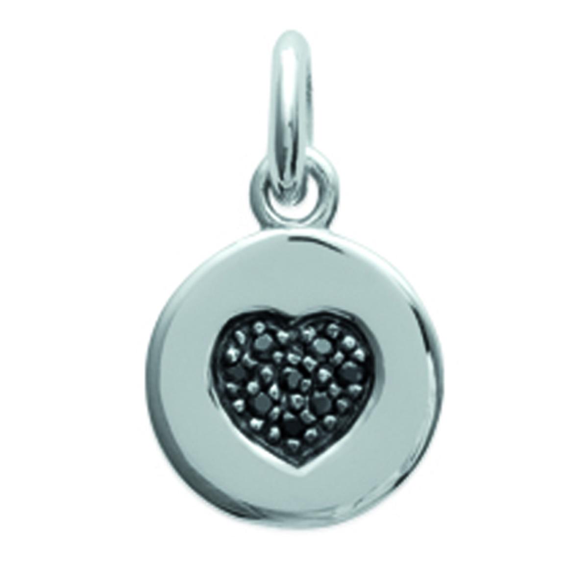 Pendentif Argent \'Love\' noir argenté - 10 mm - [L0857]