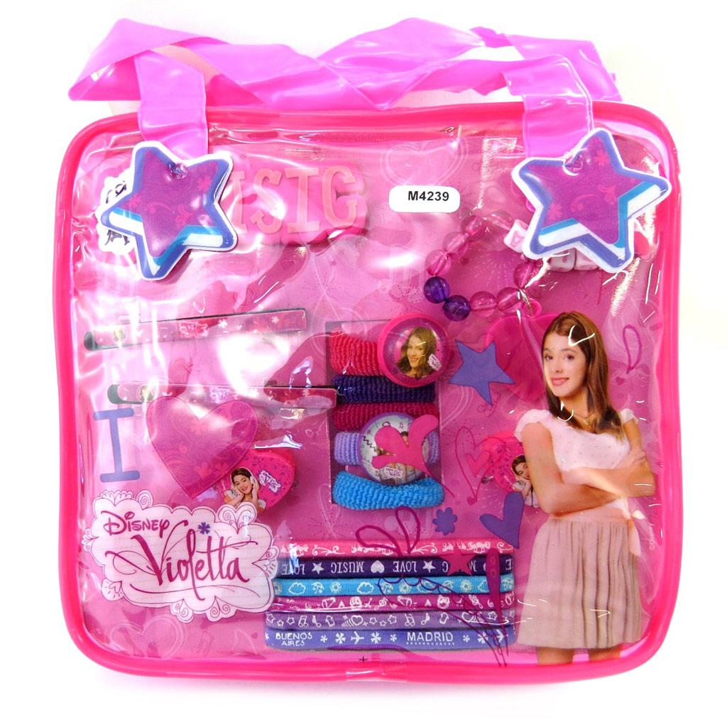 Sac accessoires cheveux \'Violetta\' violet (17 pièces) - [M4239]