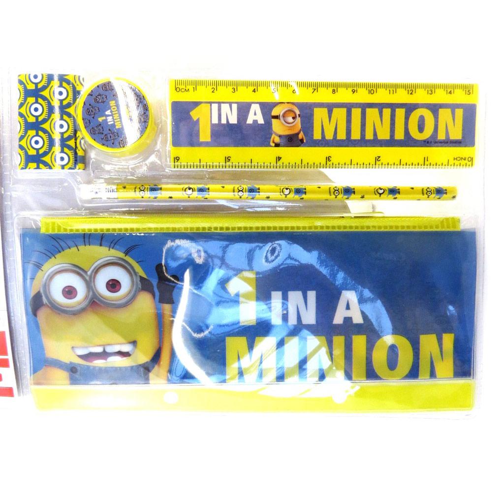 Set papeterie \'Minions\' bleu jaune (5 pièces) - [M4241]