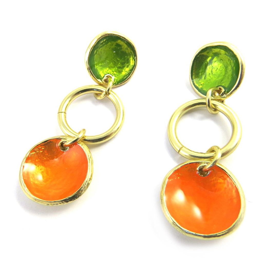 Boucles Créateur \'Coloriage\' orange vert - [M4316]