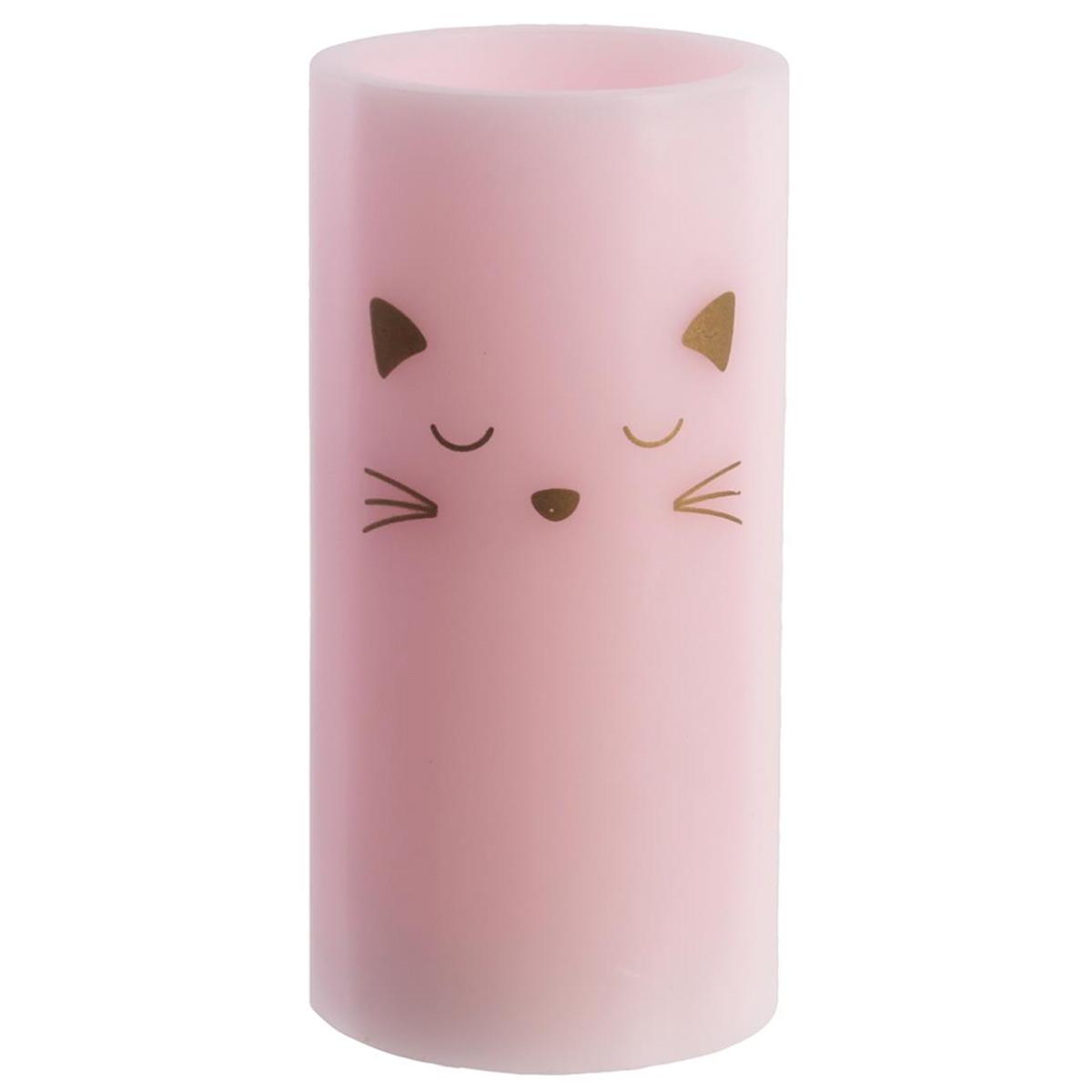 Bougie LED \'Chats\' rose doré (cire véritable) - 15x75 cm - [Q5407]