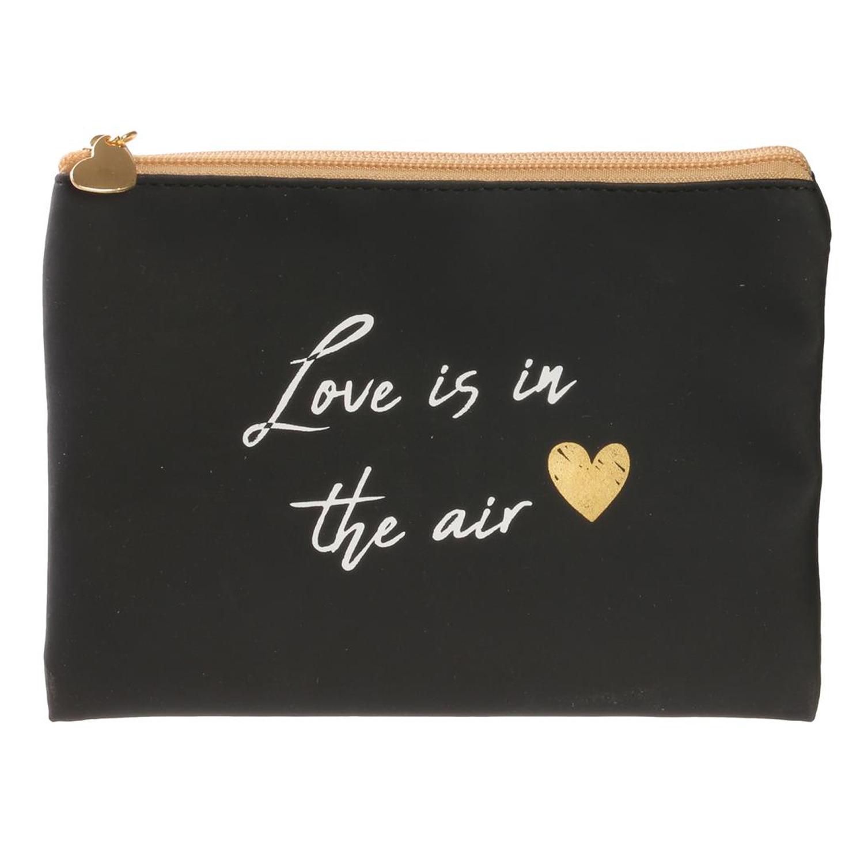 Pochette plate / Trousse à maquillage \'Mots d\'Amour\' noir (Love is in the air) - 19x135 cm - [Q5418]