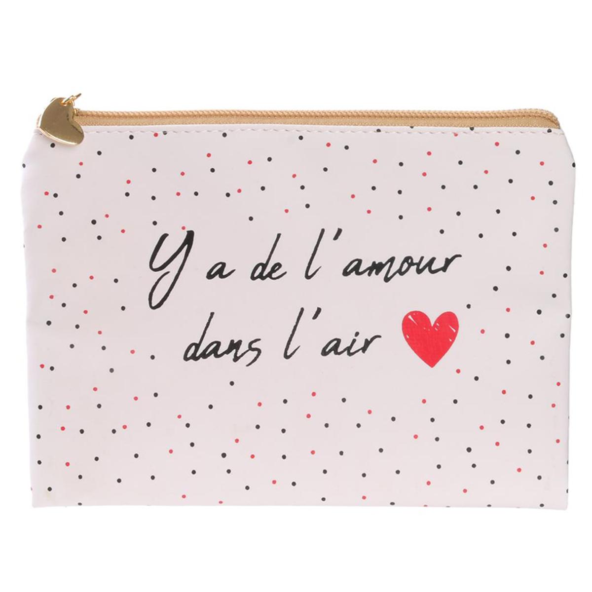 Pochette plate / Trousse à maquillage \'Mots d\'Amour\' blanc (Y\'a de l\'amour dans l\'air) - 19x135 cm - [Q5419]