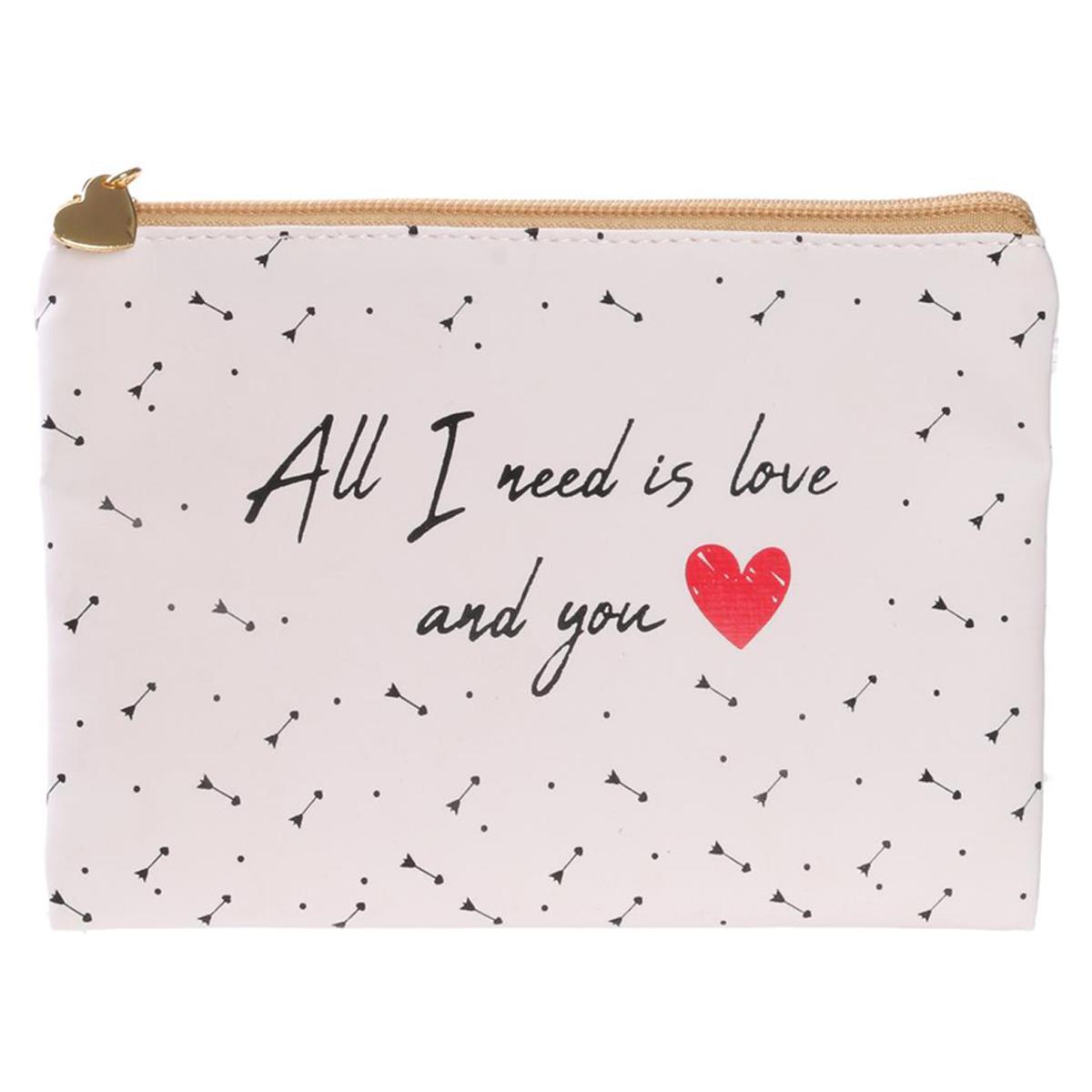 Pochette plate / Trousse à maquillage \'Mots d\'Amour\' blanc (All I need is love avec you) - 19x135 cm - [Q5420]