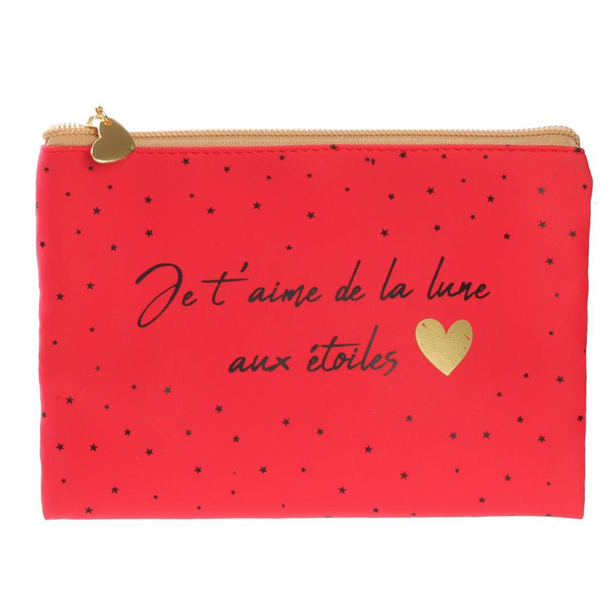 Pochette plate / Trousse à maquillage \'Mots d\'Amour\' rouge (Je t\'aime de la lune aux étoiles) - 19x135 cm - [Q5421]