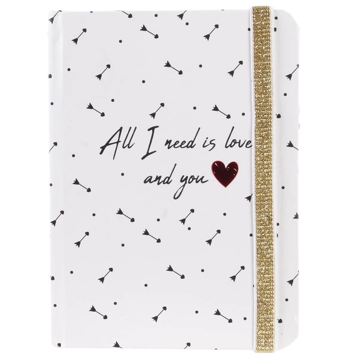 Carnet A6 \'Mots d\'Amour\' blanc (All i need is love and you) - 15x11x1 cm - [Q5427]