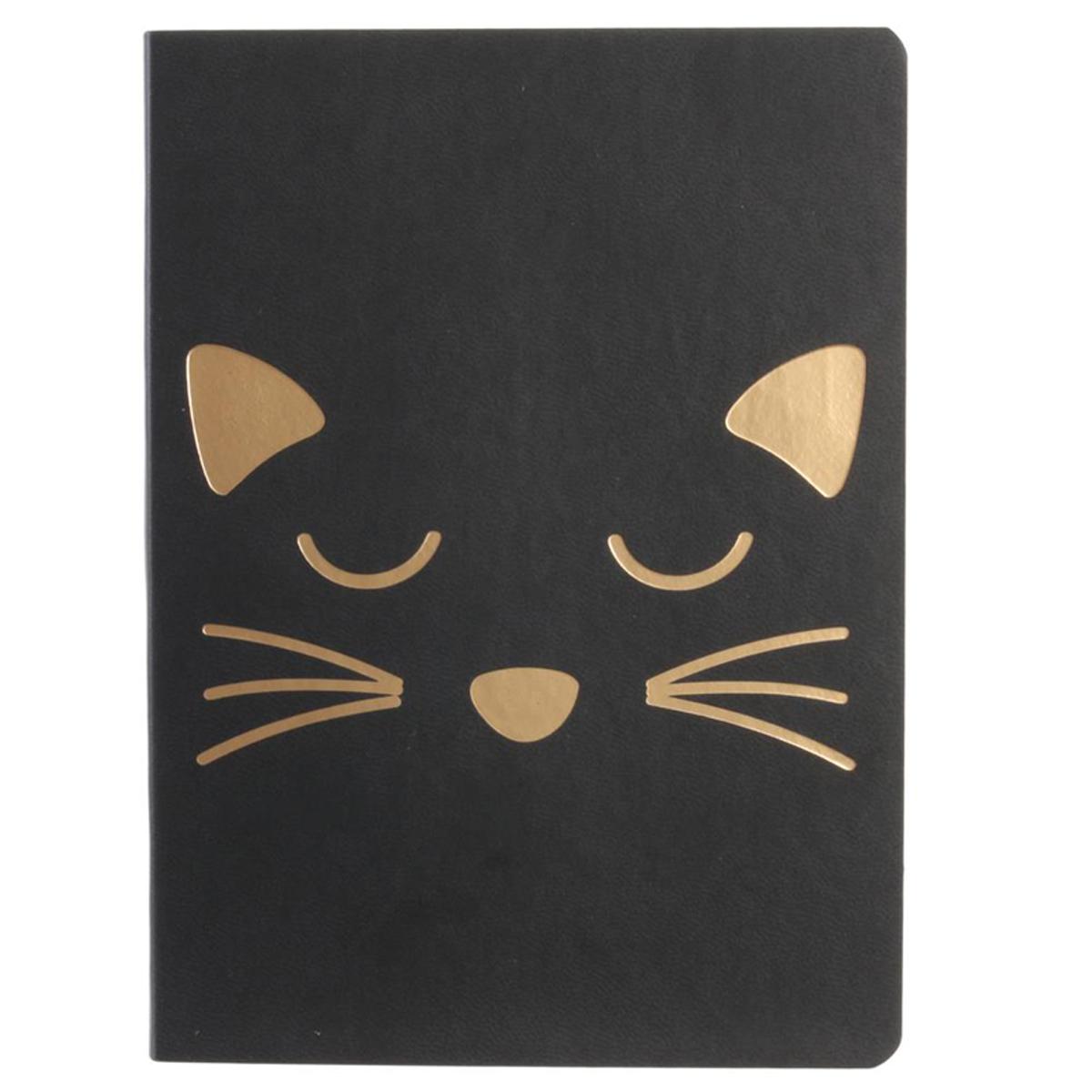 Carnet A6 \'Chats\' noir doré (\'La vraie star, c\'est le chat\') - 15x115x05 cm - [Q5434]
