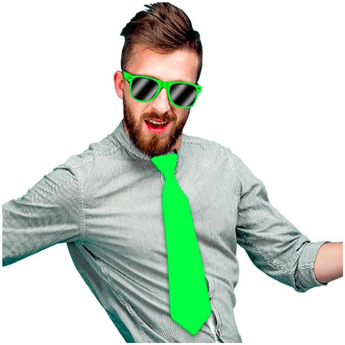 Cravate festive \'Coloriage\' vert satiné - 365x8 cm - [Q5447]