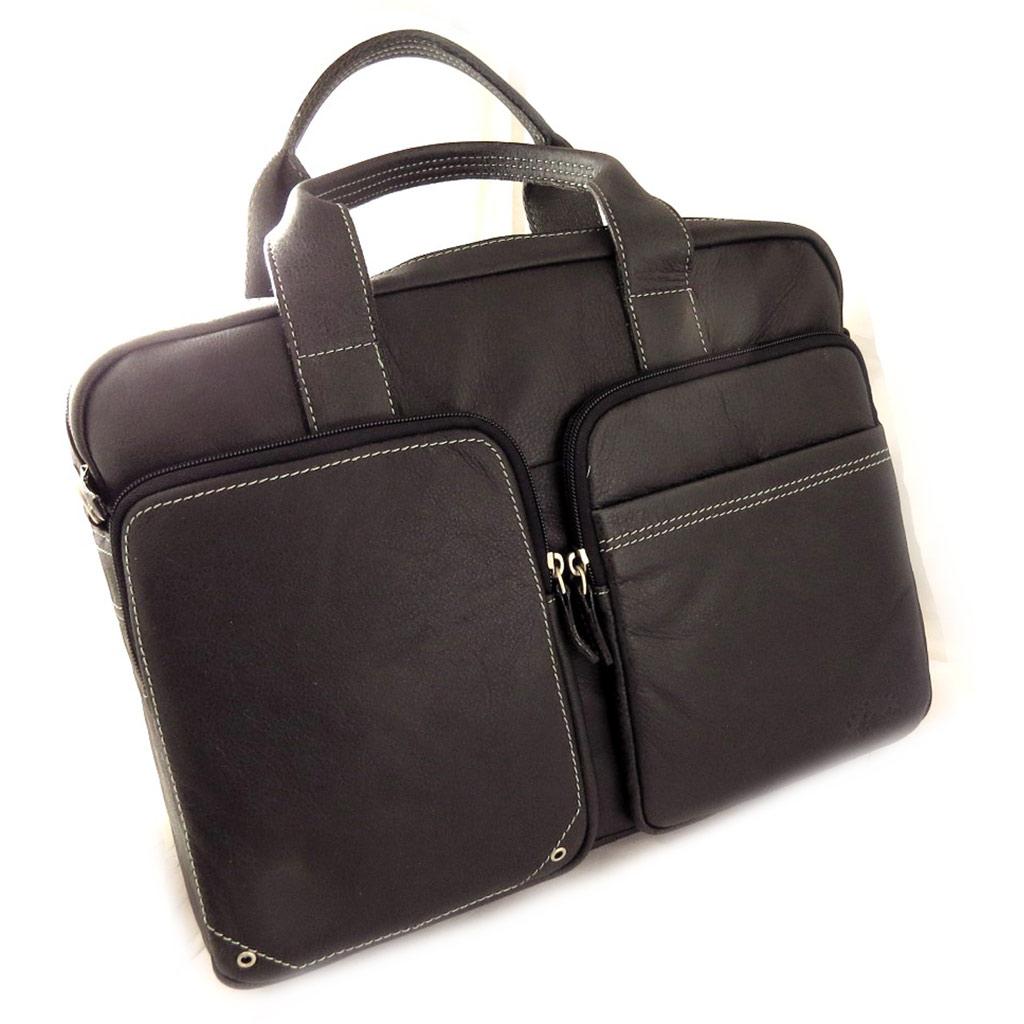 Porte-documents cuir \'Lafayette\' noir vintage (ordinateur) - [L0968]