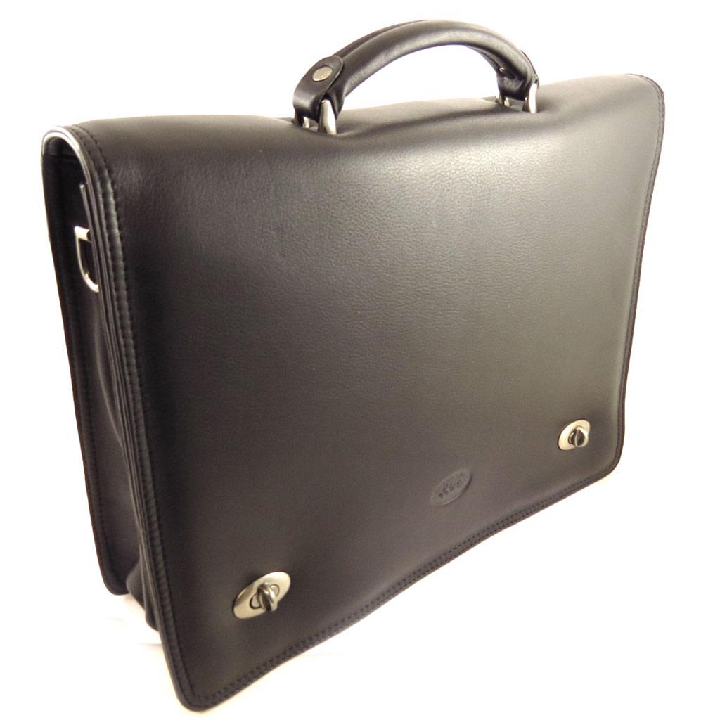 Serviette cuir \'Lafayette\' noir (2 soufflets) - 38x28x8 cm - [L0985]