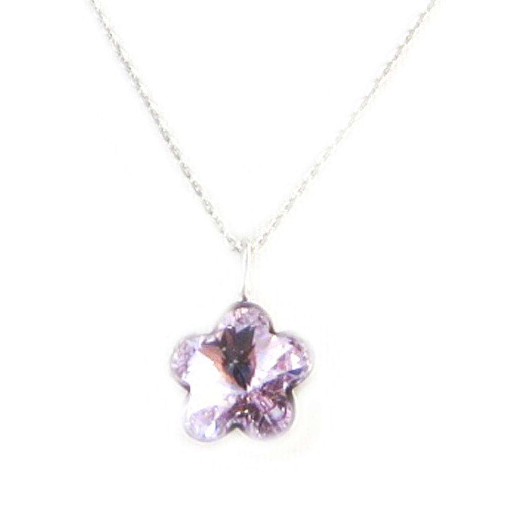 Collier Argent \'Flora\' mauve (cristal de Swarovski) - [M4532]