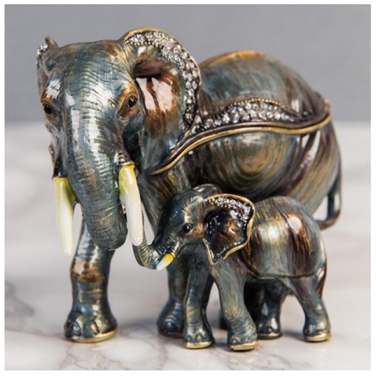 Coffret à Bijoux \'Famille Elephant\' vert marron - 11x8x5 cm - [Q5534]
