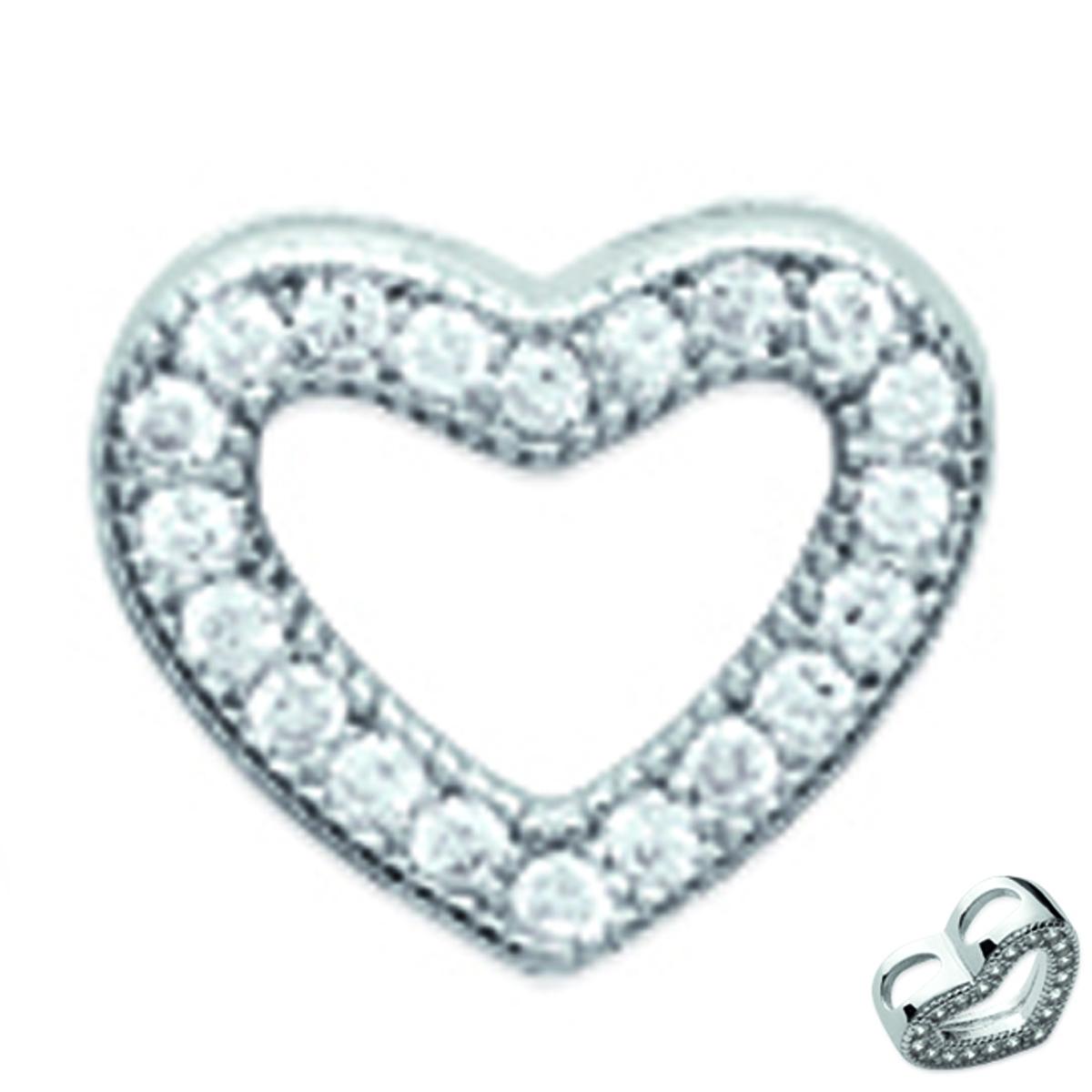 Pendentif Argent \'Love\' blanc argenté - 9x8 mm - [L1159]
