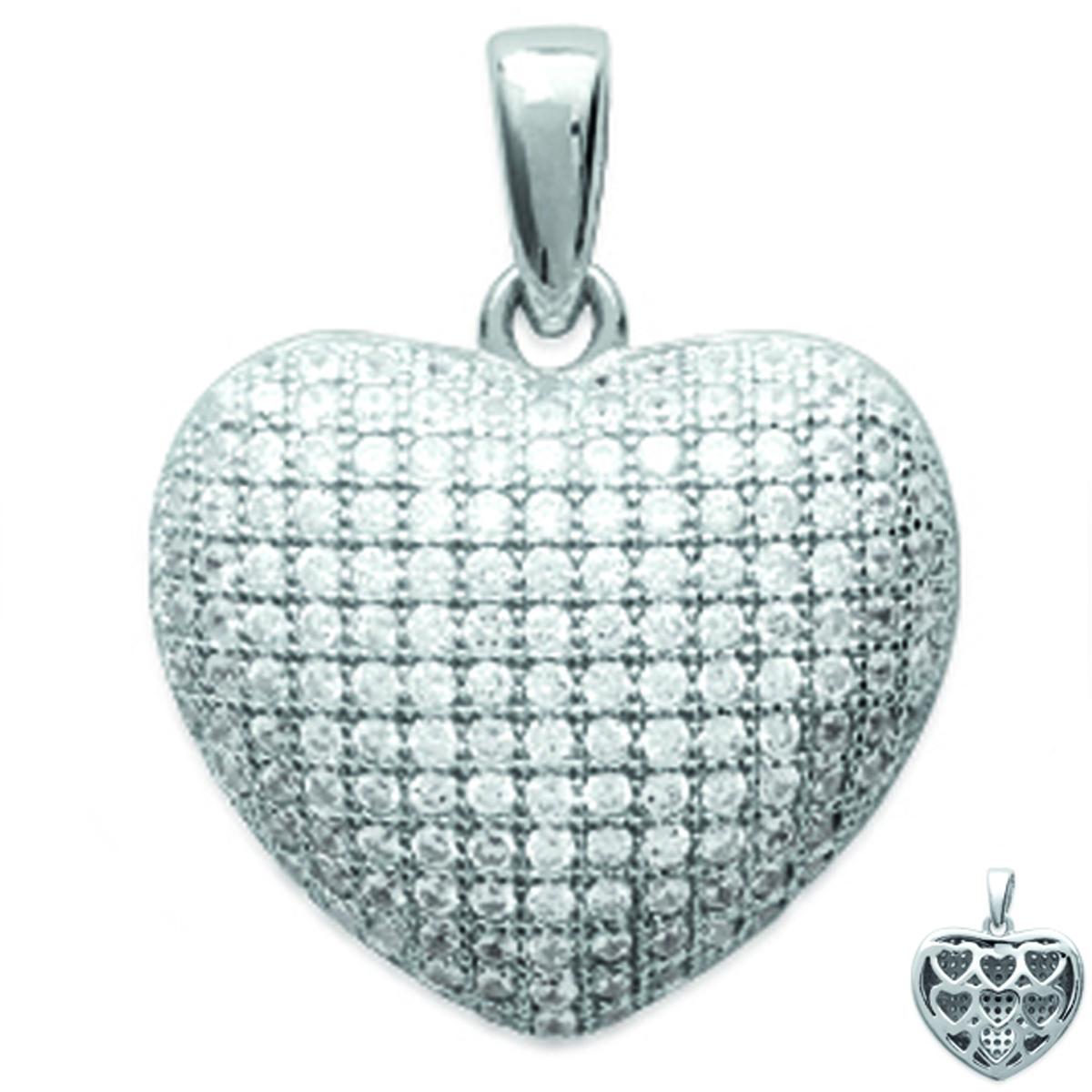 Pendentif Argent \'Love Divine\' blanc argenté (rhodié) - 16x14 mm - [L1161]