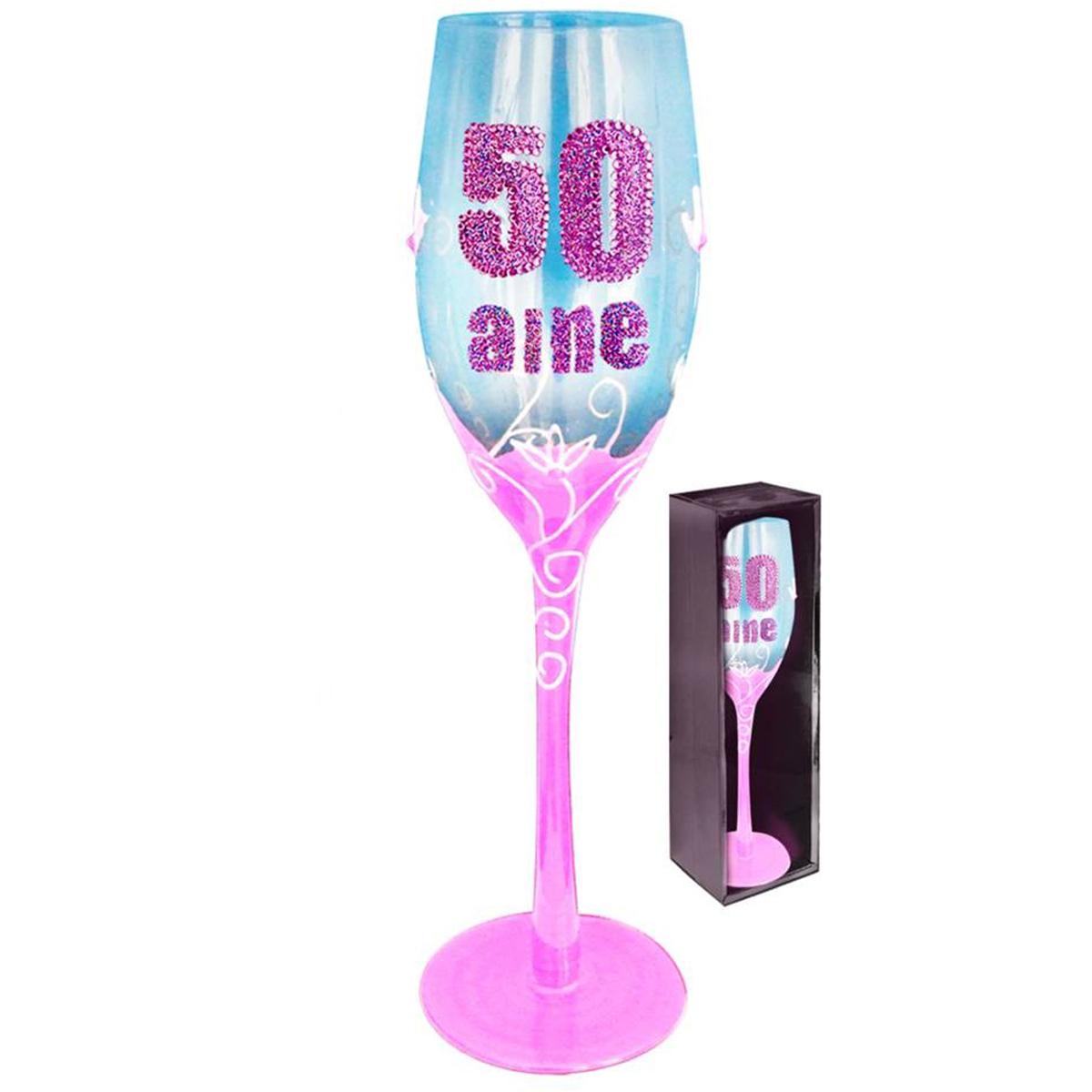 Coupe flute à champagne \'50 aine\' rose - 24 cm - [Q5585]