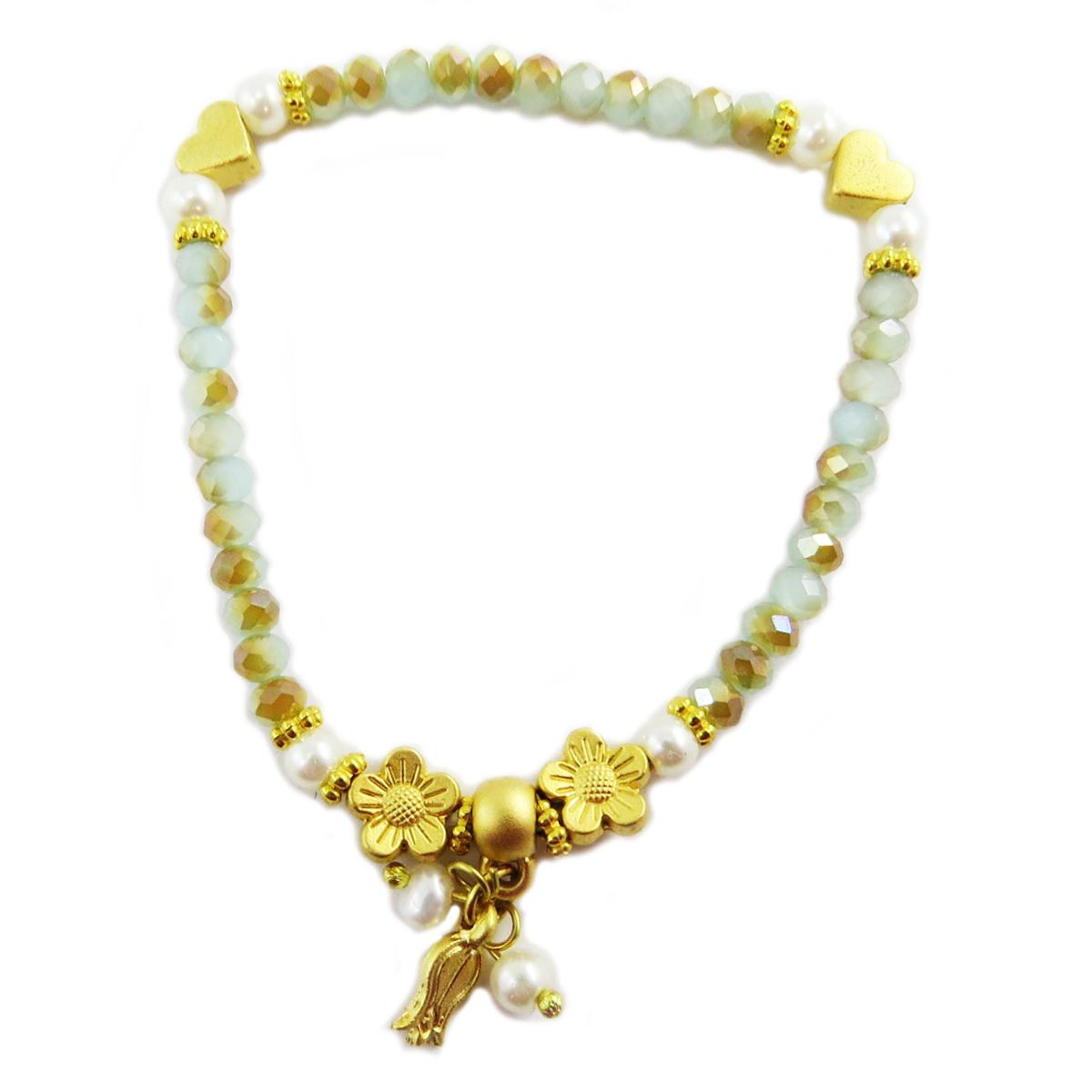 Bracelet artisanal \'Cléopatra\' vert doré - motif 10 mm - [Q5618]
