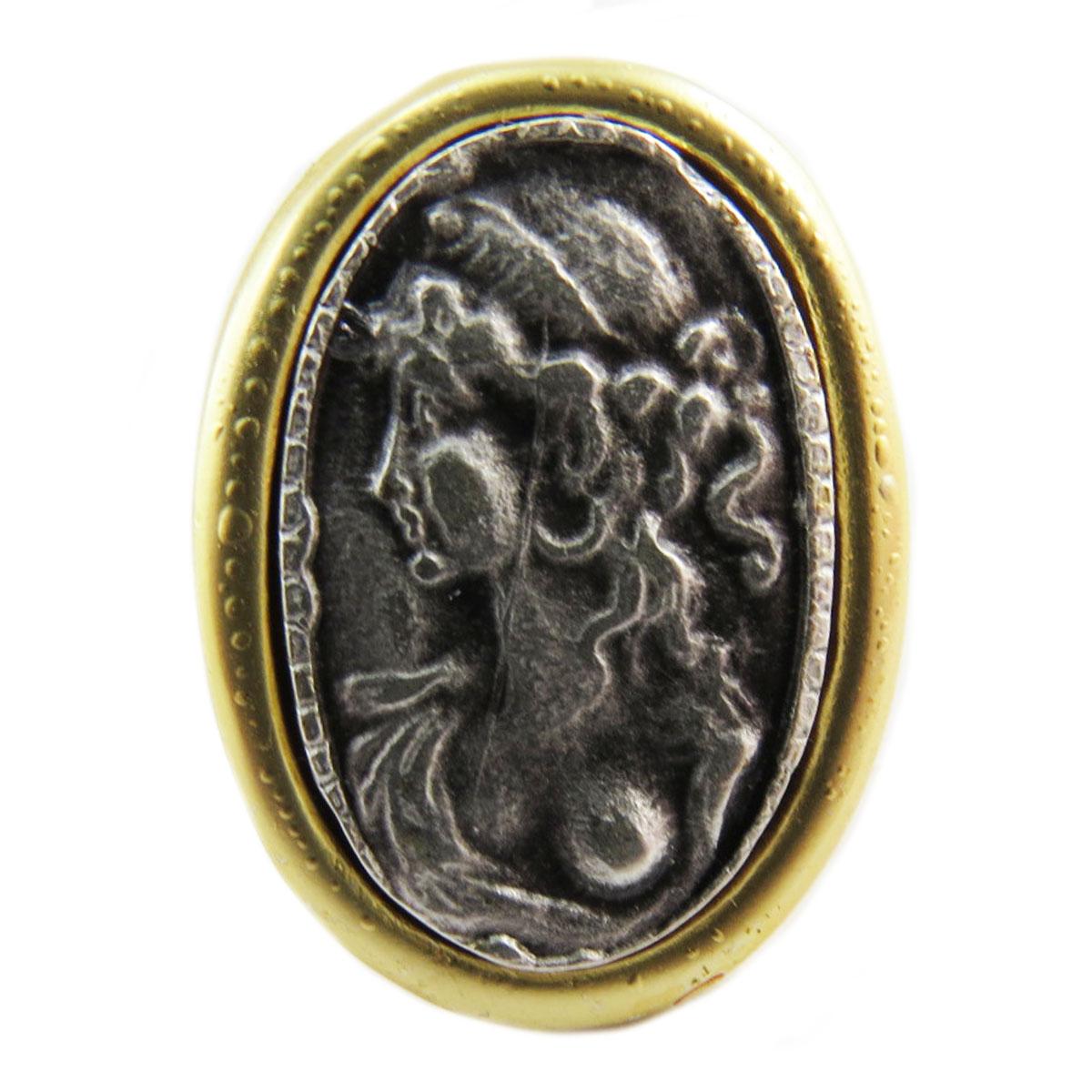 Bague artisanale \'Divine Camee\' argenté doré - 28x20 mm - [Q5620]